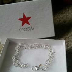 Macys 925 sterling silver bracelet Very elegant bracelet  Its 8 inches long Hard to describe.  I did buy at Macy's, it was one of there bracelets. Looks great with anything you wear. Macys  Jewelry Bracelets