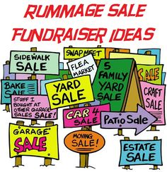 Rummage Sale Fundraiser Ideas - Tips on doing a fundraising rummage sale. Rummage (or yard, or garage!) sales are great ways to clean out team members' basements AND raise money for your Buddy Walk team! Garage Sale Signs, Yard Sale Signs, For Sale Sign, Church Fundraisers, Fundraising Events, Fundraising Ideas, Fundraiser Event, Nonprofit Fundraising, Rummage Sale