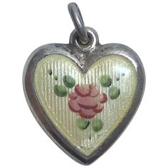 Vintage LaMode Sterling Silver and Enamel Flower Puffy Heart Charm Vintage Silver Jewelry, Mens Silver Rings, Silver Enamel, Charm Jewelry, Heart Charm, Jewelry Accessories, Jewelry Ideas, Crafts To Make, Vintage Fashion