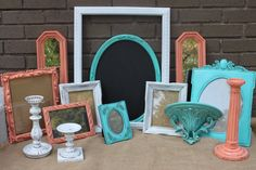 Vintage Turquoise, Coral, White frame grouping - Home Decor Collection - Sconce - Mirror - Candle Sticks - Chalkboard - Shabby Chic