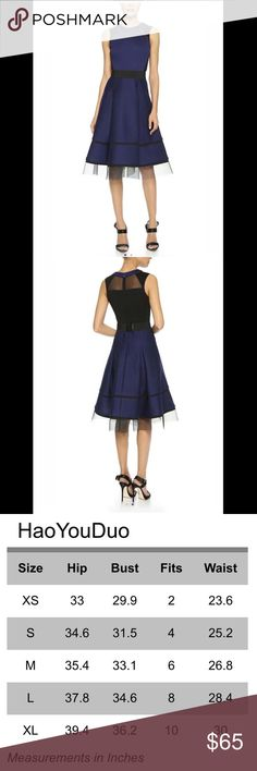 Fabulously Edgy Euro Boutique Dress Mesh trim along hem, mesh back panel and insets are featured in this stunning midnight blue and black dress. This out of the ordinary beauty has semi-sheer accents on this flared knee-length skirt with hidden pockets, inset pleats and built in wide banded waist- made to totally accentuate your darling figure! Size XL, but is a Euro import and runs rather small. Fits and flatters a size 10 (or 12!) best. Never worn- just waiting for you to turn heads…