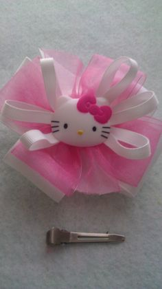 White and pink hello kitty hairbow by MyBabycrowns on Etsy, $3.50