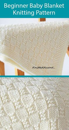 Beginner Knitting Pattern for Baby Blanket - Easy blanket with just knit and purl stitches. Ideal for beginners. Measurements: 27.5in x 35.5in (70cm x 90cm). Aran weight yarn. Designed by Deborah O'Leary. Baby Knitting Patterns, Free Baby Blanket Patterns, Baby Patterns, Knitting For Beginners, Beginner Knitting Projects, Start Knitting, Easy Knitting, Beginner Knitting Blanket, Easy Knit Baby Blanket