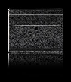Prada card holder with side slit for bills