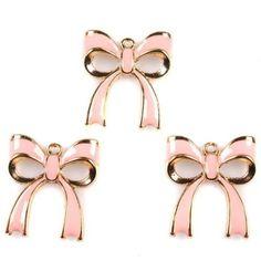 15x 146302 Distinctive Enamel Pink Bowknot Alloy Necklace Pendant Accessories