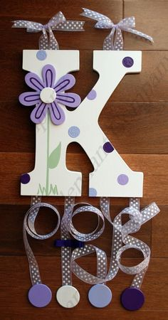 Wooden Wall Letters, Painted Letters, Letter Wall, Decorated Letters, Painted Initials, Diy Letters, Diy Hair Bow Holder, Barrette Holder, Barrette Clip