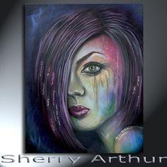 Woman Emotional Sad Portrait Painting On Canvas by sherryarthur
