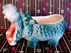 Vintage Kitsch Chachki Inarco Hippo Planter Flower Pot by modpets, $24.00