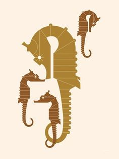 """Undersea Seahorse Family"" contemporary wall art by Eleanor Grosch for GreenBox Art + Culture"
