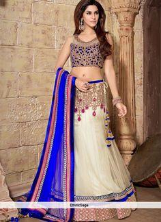 Off White Net Party Wear Lehenga Choli Net Lehenga, Bridal Lehenga Choli, Indian Lehenga, Anarkali, Lehenga Style, Lehenga Blouse, Indian Dresses, Indian Outfits, Indian Clothes