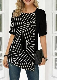 Women'S Black Sequin Half Sleeve Tunic Casual T Shirt Round Neck Button Detail Striped Top By Rosewe Sequin Embellished Button Detail Round Neck T Denim Attire, Trendy Tops For Women, Stylish Tops For Girls, Indian Designer Outfits, Gowns Online, Look Fashion, Trendy Fashion, Latest Fashion, Womens Fashion