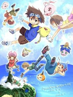 Digimon Adventure - 01/08/1999 File Island: Koushiro (Izzy) with Motimon, Taichi (Tai) with Koromon, Hikari (Kari) with Nyaromon, Mimi and Joe with Tanemon and Bukamon, Yamato (Matt) with Tsunomon, Sora with Yokomon and Takeru (T.K.) with Tokomon