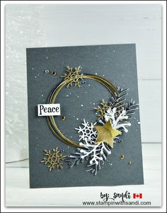 Musical Season Wreath Card created by Sandi @ www.stampinwithsandi.com #Musicalseason #stampinup #stampinwithsandi @canadianstampinupdemonstrator @stampinupcardideas #christmascardideas #wreathcard #holidaycards