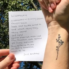 My wonderful Wildflower wrist tattoo. #tattoo #wrist #wristtattoo #tiny #wildflower