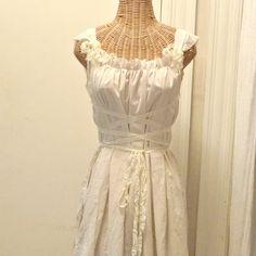 Renaissance Corset Dress Medieval Bridesmaid Maiden Gretel Cream LARP Custom Tattered Boho Womens Ren Faire Halloween