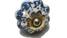 Unique Pumpkin Knobs,Blue and White Ceramic Knobs with Chrome Hardware,Cabinet Door Knobs,Drawer Pulls-DIA 04 cm-Price for 01 knob-ID127