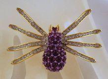 PURPLE Spider Brooch