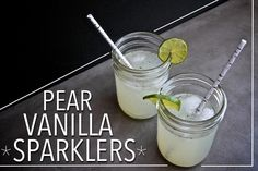 Pear Vanilla Sparklers - 3 pears cooked with 1/3 cup sugar, 2Tbsp lime juice, 1 vanilla bean - mash & strain pear syrup - combine with vodka & seltzer - garnish with lime // shutterbean