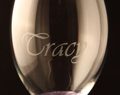 Personalised Wine Glass, any message, choice of glittered stem and free wine charm.