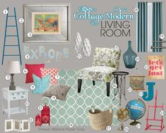 Cottage Modern Living Room Mood Board | Teal and Lime Interiors