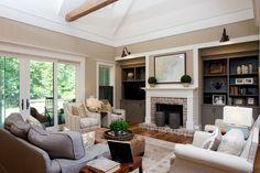 built ins around fireplace Living Room Farmhouse with custom charleston