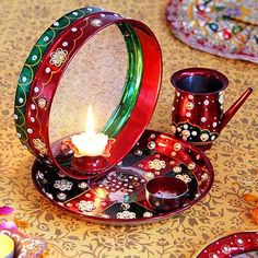 Traditional Red Chalni & Karwa in Puja Thali - karwa chauth pooja thali set Karwa Chauth Wallpaper, Karwa Chauth Gift, Happy Karwa Chauth, Bridal Chuda, Happy Married Life, After Marriage, Indian Army, Indian Festivals, Happy Diwali