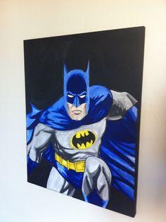 Batman Canvas - original dc comic art - perfect for Christmas on Etsy, $33.79