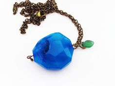 Blue Druzy Pendant Necklace  Blue Apple by lowelowejewelry on Etsy, $25.00