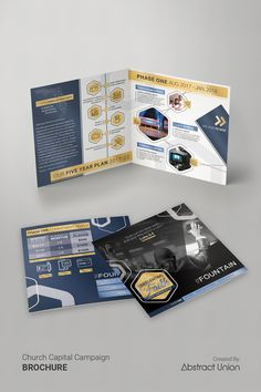 Capital Campaign Brochures- Design Ideas | Our client wanted a modern, high-gloss design for their half-fold square case statement brochures. We custom designed around their content, executed quality prints, and shipped them to their church. Click to see more!