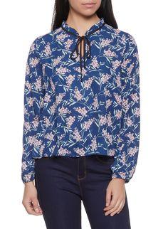 7618a644bbb Floral Tie Neck Blouse - Blue - Size L Tie Neck Blouse