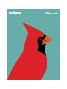 size: 24x18in Giclee Print: State Poster IN Indiana :
