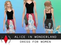 The Sims Resource: Alice In Wonderland Dress by SIms4Krampus • Sims 4 Downloads