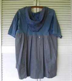 Eco Bohemian dress Funky Hoodie top upcycled by lillienoradrygoods