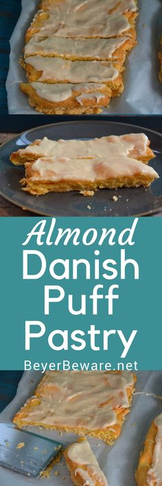 Every time I make almond Danish puff pastry I always wonder why I don't make it more often. It is light and fluffy with a double crust and full of almond flavor. #almond #pastry #danish #bread