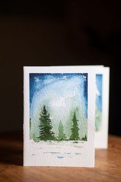 Ideas Painting Watercolor Trees Christmas Cards Painting Happy New Year Watercolor Christmas Cards, Christmas Drawing, Christmas Paintings, Watercolor Trees, Watercolor Cards, Watercolor Paintings, Painting Trees, Painting Snow, Watercolors