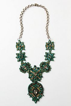 beautiful green statement necklace:  Ullapool Necklace #anthropologie