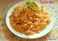 Indian Tomato Rice... Tomato Rice recipe is a very delicious breakfast recipe made with rice and aromatic tempering. http://yummyindiankitchen.com/