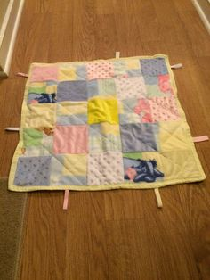 Baby Children's Sensory Toy Blanket -Pink Blue Yellow Pastel Patchwork Square Design on Etsy, $20.00