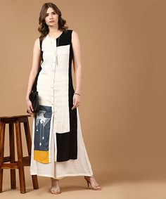 ea45f04bcd9f5 Buy Yepme White   Black Rayon Color Block Printed Regular Fit Kurta online