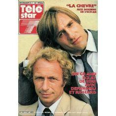 """Gérard Depardieu et Pierre Richard : """"La Chèvre"""" aux Dossiers de l'écran, dans Télé Star n°487 du 27/01/1986 [couverture et article mis en vente par Presse-Mémoire]"""