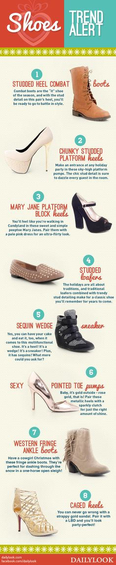 Shoes Trend Alert! A DailyLook Style Guide. Click the image link to shop these shoes! @dailylook #dailylook #dailylooksugarandspice #fashion #style #shoes #heels #boots #flats #loafers #sneakerwedge
