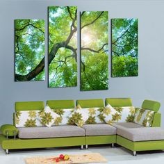 Hot salesTrees among Yellow Sun and Green Large HD Top-rated Canvas Print Painting for Living Room, Wall Art Picture Gift