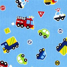 cars fabric for boys fire engine police truck by Kokka  light blue children fabric with cars, fire engines, police cars, trucks & traffic signs