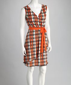 Take a look at this Corey P Orange & Cream Belted Dress by A-List & Corey P on #zulily today!