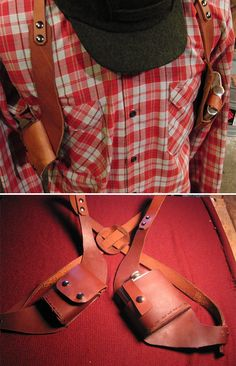 Vice Holster: This handmade leather vice holster keeps your cigs and an 8 oz. flask (included) stowed right where you can reach 'em for hands-free nights of shooting pool and throwing punches. Gun Holster, Leather Holster, Holsters, Leather Bag, Handmade Leather, Leather Craft, 2nd Amendment, Man Stuff, Edc