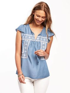 Embroidered Tencel® Swing Top for Women   Old Navy Chic Outfits, Swing Top, 14a0e78482de