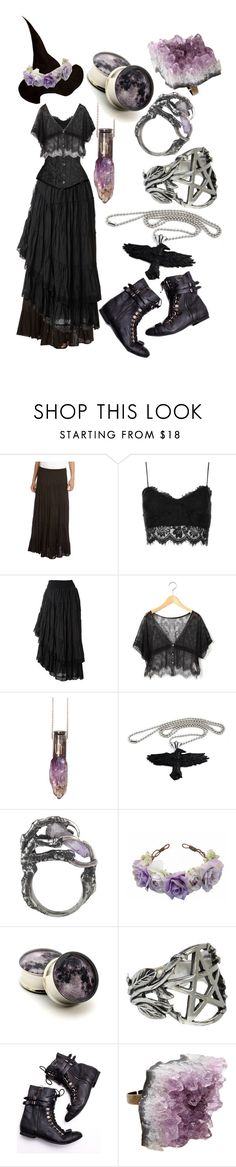 """""""Amethyst Forest Witch"""" by risaisafox ❤ liked on Polyvore featuring Karen Kane, Topshop, Raxevsky, Raven Denim, Eilisain Jewelry, Pamela Love, Jeffrey Campbell and AstralEYE"""