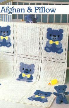 X458 Crochet PATTERN ONLY Country Teddy Bear by BeadedBundles, $4.95