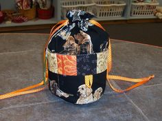 Handmade One of a Kind   Dogs  Ditty Bag...Drawstring Tote Bag Great for Knitting, Bingo, Sewing by TheKnittingGnomeVT on Etsy
