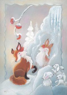 Klikkaa sulkeaksesi. Kaarina Toivanen Holiday Images, Christmas Pictures, Christmas Themes, Christmas Fun, Vintage Christmas Cards, Christmas Greetings, Fox Images, Childrens Christmas, Nouvel An